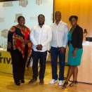 Wes Jackson, Reggie Williams and Ebonie Jackson at Medger Evers College for the Brooklyn Hip-Hop Institution Conference