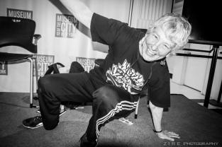 Martha Cooper, hip-hop photographer doing some break dance moves