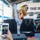 "Singer Jillian Hervey of Lion Babe performs at the 11th Annual Brooklyn Hip-Hop Festival held at Williamsburg Park on July 11, 2015 in Brooklyn, NY. She asked the crowd ""Can I Kick It?"" from the Tribe Called Quest album, then kicks high in the air."