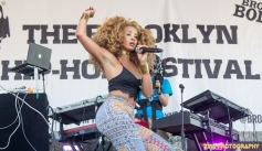 Singer Jillian Hervey of Lion Babe performs at the 11th Annual Brooklyn Hip-Hop Festival held at Williamsburg Park on July 11, 2015 in Brooklyn, NY