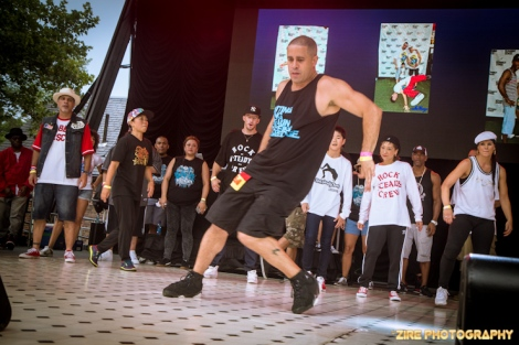 """Master BBoy and Breakdancer, Rich """"Crazy Legs"""" Colon performs Live at the Rock Steady Crew 38th Annual Celebration held on Sunday, July 26, 2015 at Central Park in New York City"""