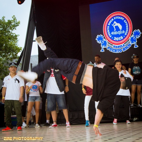 EZ Mike does a thumb stand at the Rock Steady Crew 38th Annual Celebration held on Sunday, July 26, 2015 at Central Park in New York City
