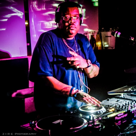 Dj Big Kap mixing on the turn tables at the Brooklyn Hip-Hop Festival after party. 2013 in Brooklyn NY